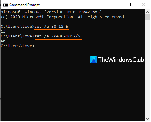 subtraction using command prompt window