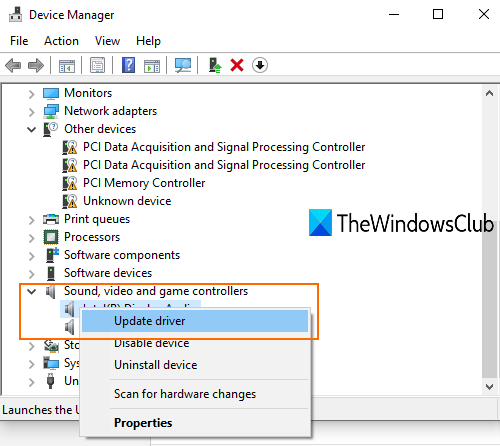 update audio driver using device manager