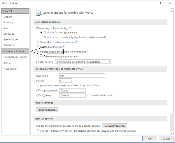 Reset Ribbon Customizations in Office to default