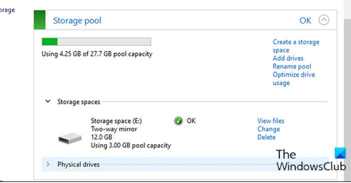Add Drives to Storage Pool for Storage Spaces via Control Panel
