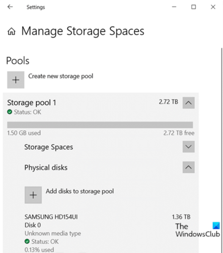 Add Drives to Storage Pool for Storage Spaces via Settings app