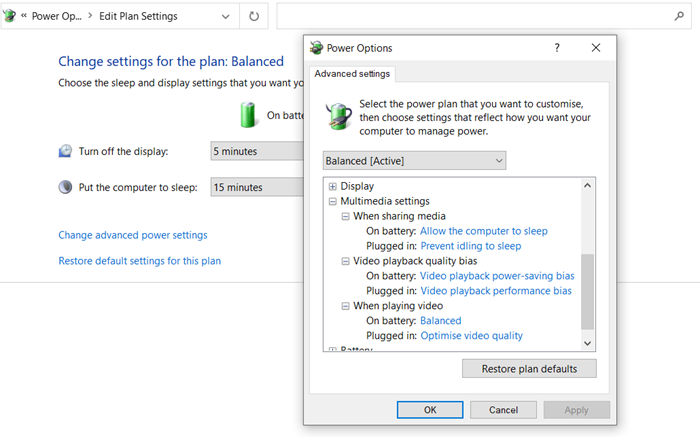 Change Power Plan Settings for multimedia