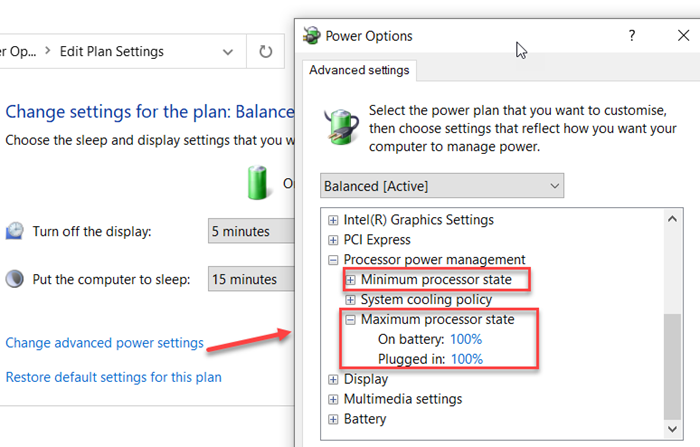 How to Change Processor Power State when on battery using powercfg command line in Windows 10
