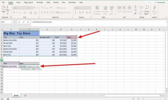 How to use DSUM function in Excel