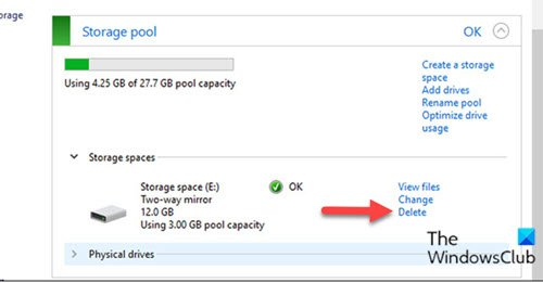 Delete a Storage Space from Storage Pool via Control Panel