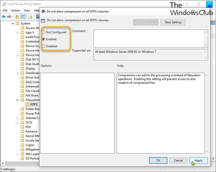 Enable or Disable NTFS File Compression via Local Group Policy Editor