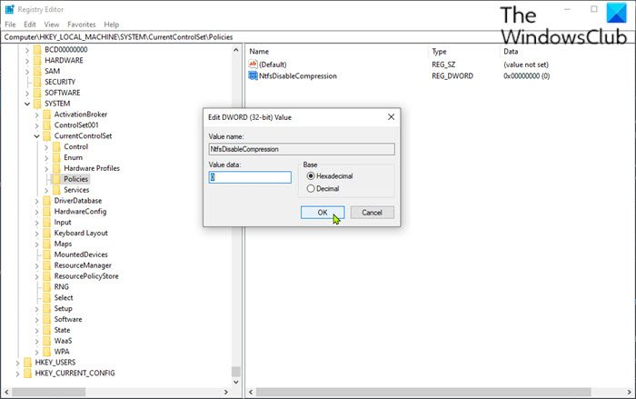 Enable or Disable NTFS File Compression via Registry Editor