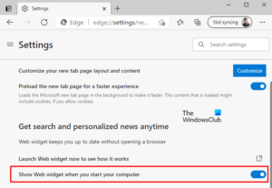 Enable or Disable Web Widget of Microsoft Edge in Windows 10