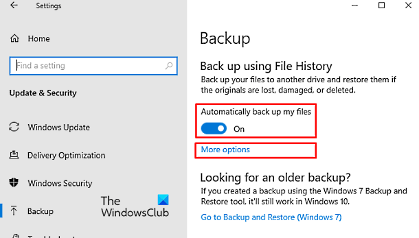 How to Create automatic file backup using File History