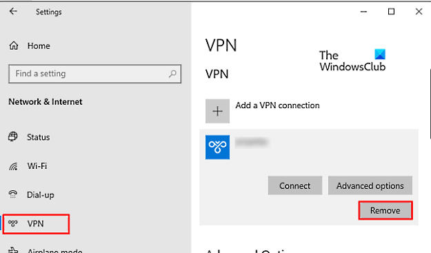 How to Remove a VPN using Network Connections in Windows 10