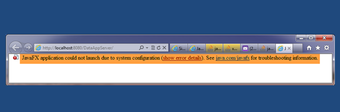 JavaFX application could not launch due to system configuration
