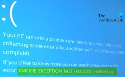 KMODE EXCEPTION NOT HANDLED (e1d65x64.sys) Blue Screen error