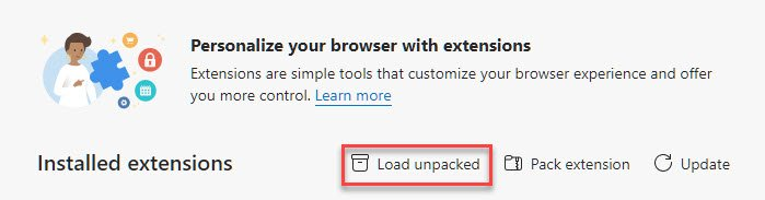 Load Unpacked Extension Browser