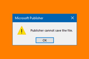 Microsoft Publisher cannot save the file