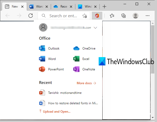 Office extension for Microsoft Edge