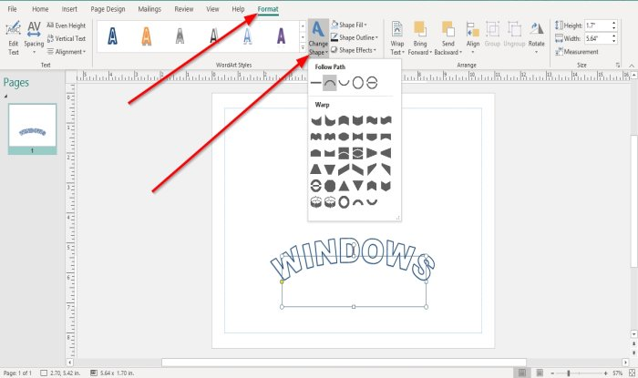 How to change the shape of WordArt Text tool in Microsoft Publisher