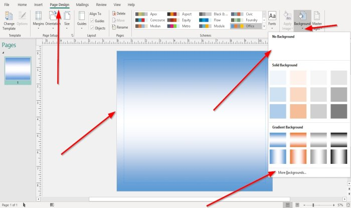 How to add Background in Publisher