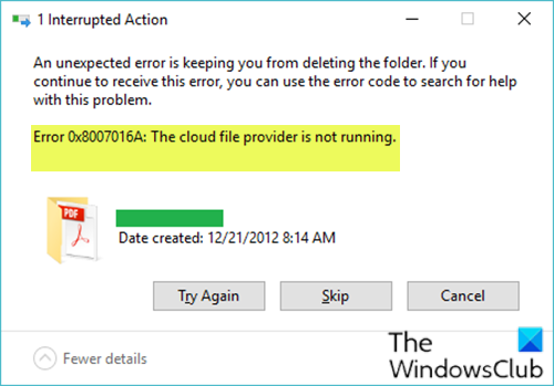 OneDrive Error 0x8007016A: The cloud file provider is not running