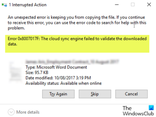 OneDrive Error 0x8007017F: The cloud sync engine failed to validate the downloaded data