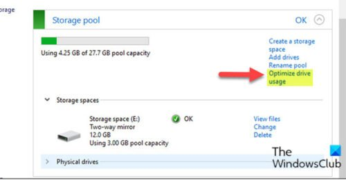 Optimize Drive Usage in Storage Pool for Storage Spaces via Control Panel