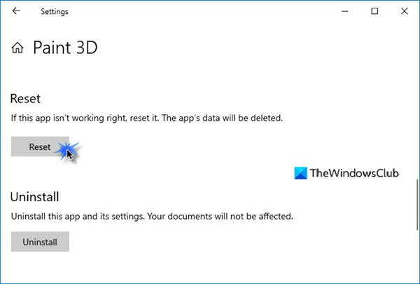Paint 3D not working or opening