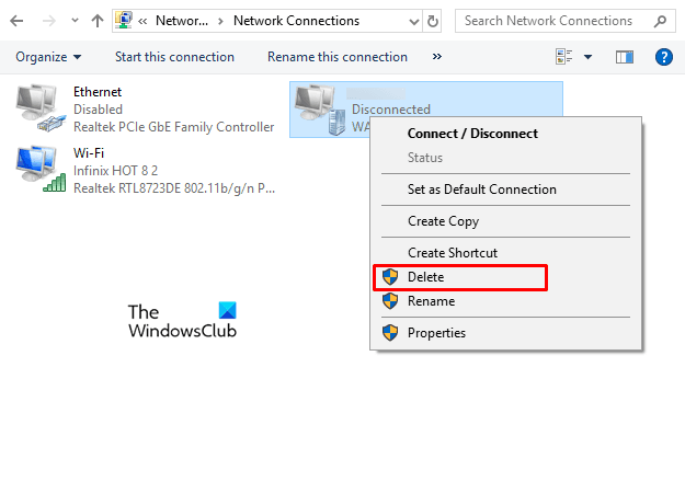 Remove a VPN using Network Connections in Windows 10