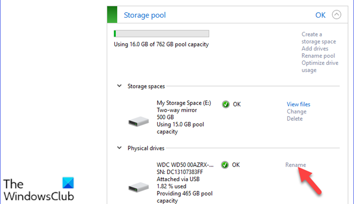 Rename Physical Drive in Storage Pool for Storage Spaces