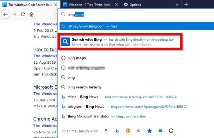 Tab to Search in Firefox