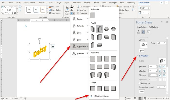How to add Text Effects to WordArt in Office apps