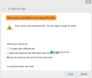 There was a problem burning this disc