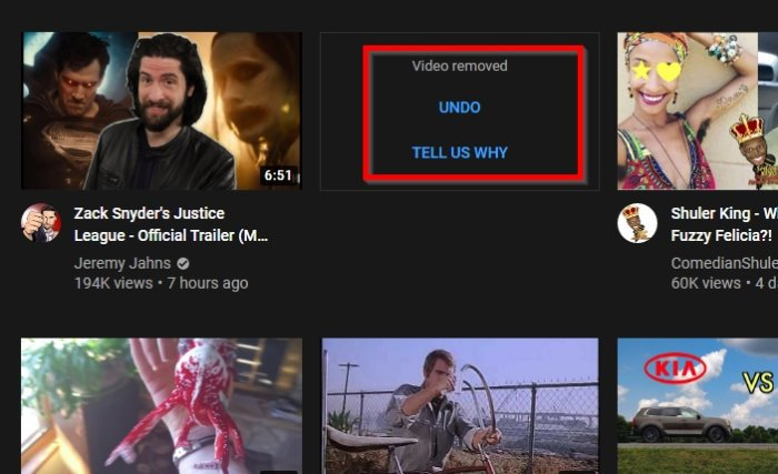 How to undo Not Interested request on YouTube homepage
