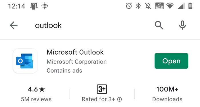 Update Reinstall Outlook App