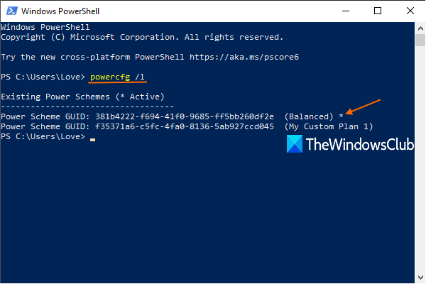 Windows PowerShell to view active and all power plans