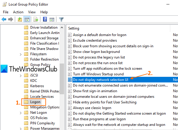 access logon folder and open Do not display network selection UI setting