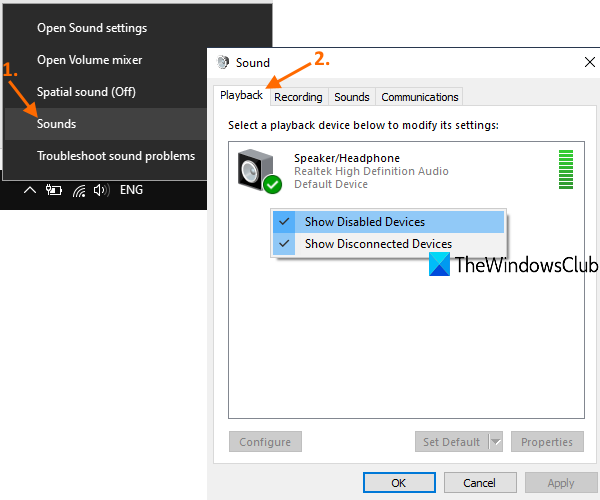 access playback tab in sound window and set default output device