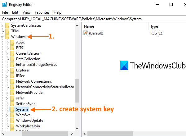 access windows key and create system key under it