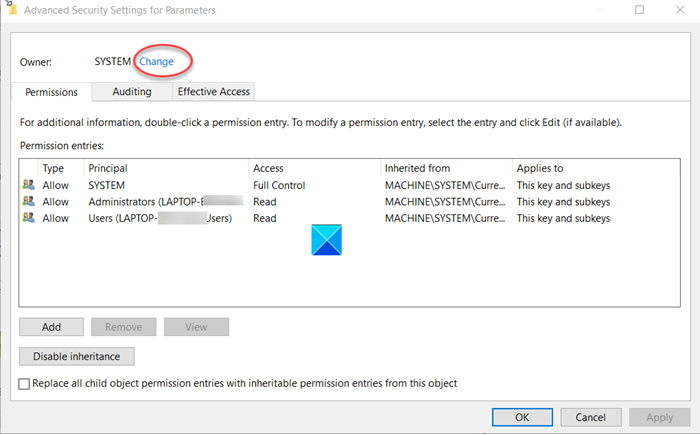 Advanced Security Settings for Parameters