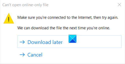 Can't Open Online Only File