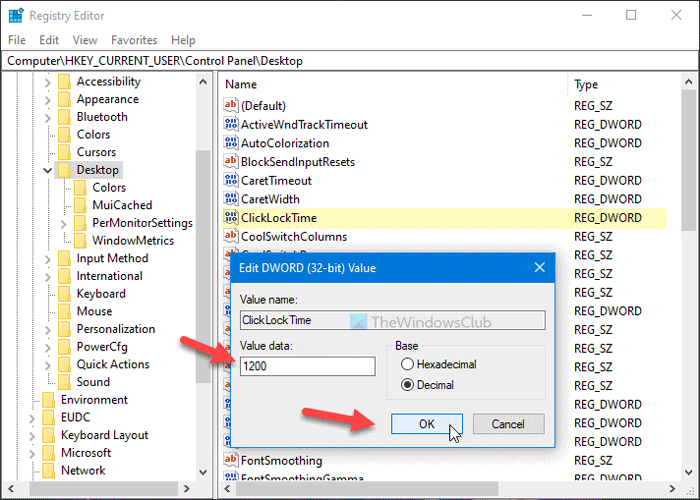How to change mouse ClickLock time using Registry Editor
