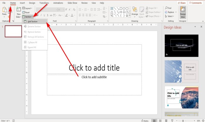 divide a PowerPoint presentation into sections