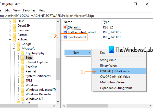 create SyncDisabled name DWORD value