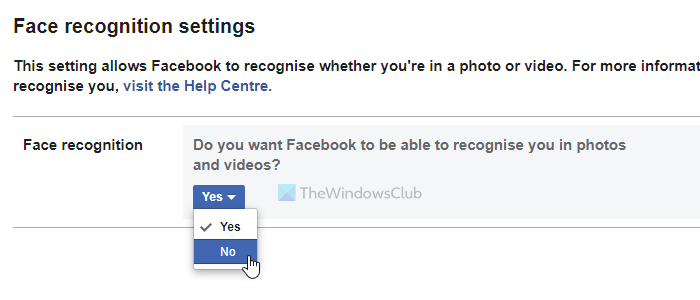 How to enable or disable Facebook Face recognition