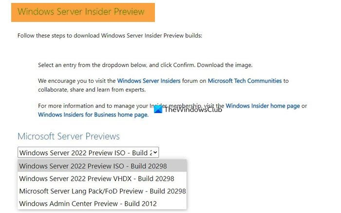 Where to download Windows Server Insider Builds