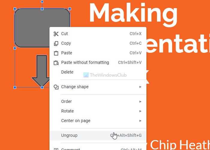 group or ungroup objects in PowerPoint Online and Google Slides