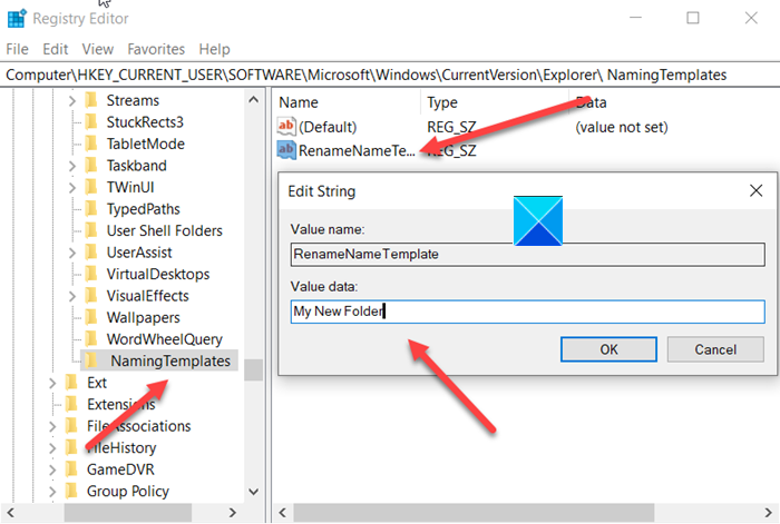 change the default name of the newly created folder