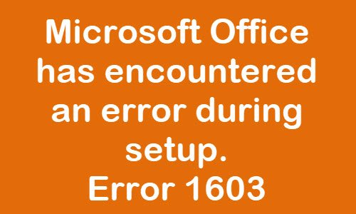 office error 1603