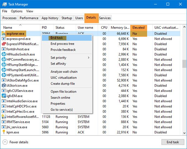 open File Explorer as admin in elevated mode