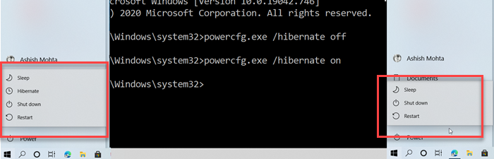 powercfg enable disable hibernate