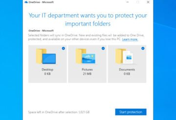 Show notification to users to move Windows known folders to OneDrive