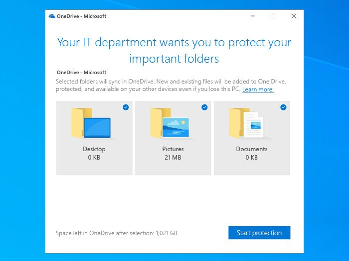 Prompt users to move Windows known folders to OneDrive